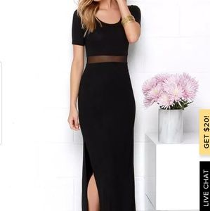 Lulus Black Short Sleeve Maxi Dress